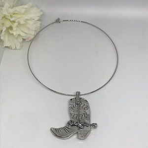 Silver tone Western boot necklace New
